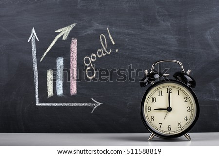 Graph on blackboard and larm clock