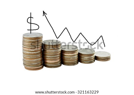 graph on money growth concept in business, Coins on white background with clipping path.