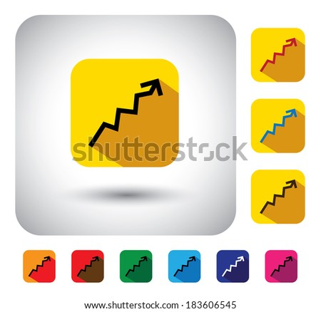graph or report sign on button - flat design graphic icon. This long shadows graphic symbol also represents financial performance, earnings growth, revenue & profits, stock market, corporate business  - stock photo