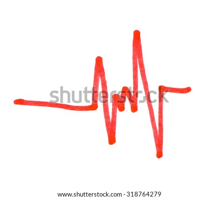Graph painted red on a white background. - stock photo