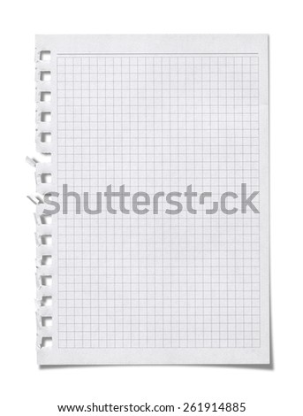 Graph paper, isolated on white background. (Clipping Path) - stock photo
