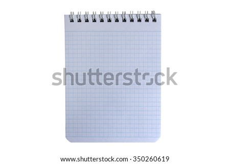 Graph paper notebook (note pad). Isolation on a white background. Clipping path. - stock photo