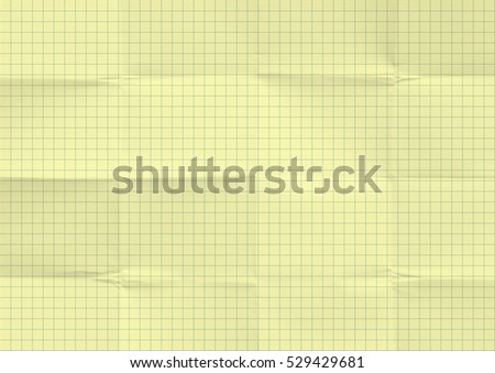 White Crumpled Paper Blue Graph Lines Stock Photo