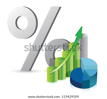 graph pie chart and discount percentage illustration design over white - stock photo