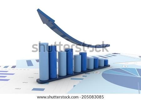 Graph positive financial analysis - stock photo