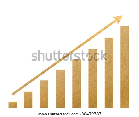 Graph recycled paper craft  on white background. - stock photo