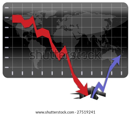 Graph representing the global economic crisis and the long way to recovery - stock photo
