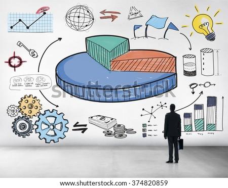 Graph Shares Sales Revenue Research Business Concept - stock photo
