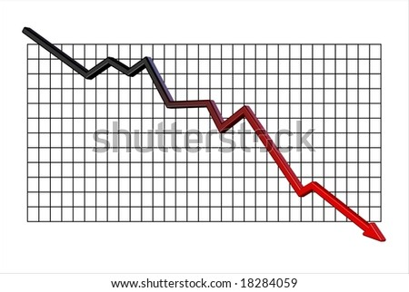 Graph showing a big fall into the red - stock photo