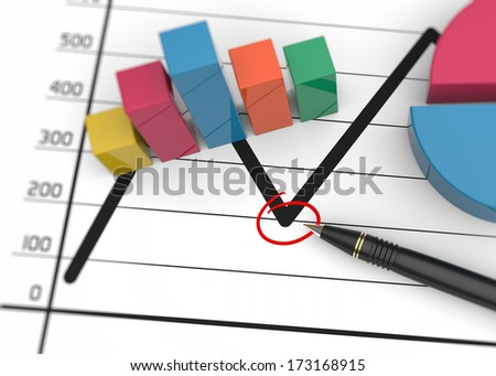 Graph showing poor economic results - stock photo