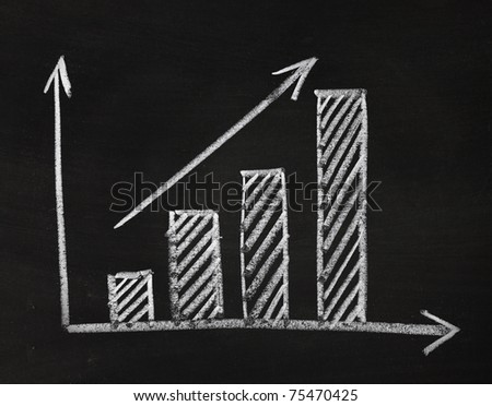 graph showing rise in profits or earnings drawn over with chalk - stock photo