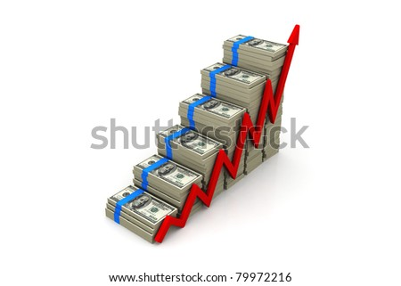 Graph showing rise in profits or earnings in a chart - stock photo