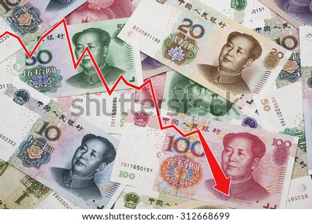 Graph showing the decline of the Chinese Yuan or RMB on the international market over a collage of Chinese money