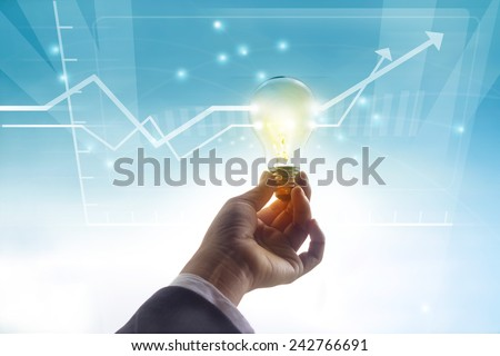 graph statistics higher past idea, light bulb symbol concept - stock photo