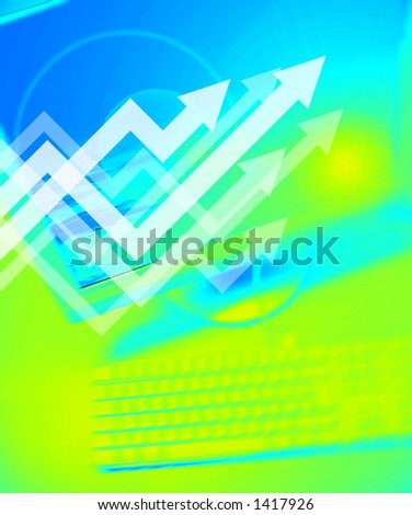 Graph symbol on Personal Computer background - stock photo