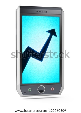 Graph  This is my own design of smart phone, therefore you can use this picture for commercial purposes. Full collection of icons like that is in my portfolio - stock photo