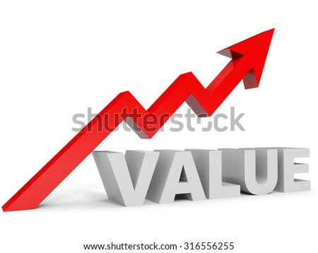 Graph up value arrow. 3D illustration.