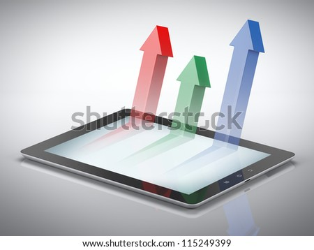 Graph with arrows on tablet