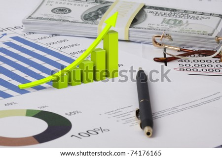 Graph with dollar - stock photo