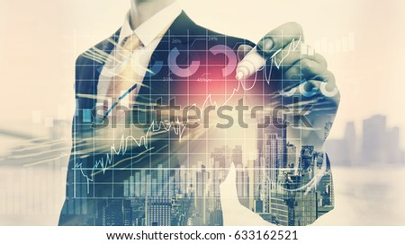 Graph with double exposure of businessman and big city
