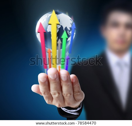 Graph with globe in his hands - stock photo