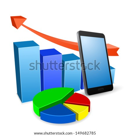 graph with smartphone business concept