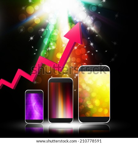 Graph with  smartphone on abstract  background,cell phone illustration