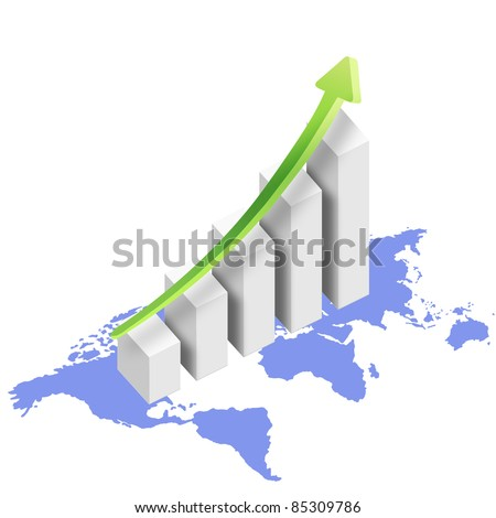 graph with world map and rising arrow - stock photo