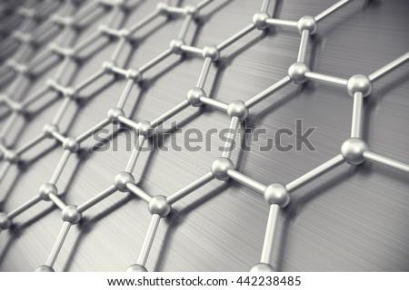 Graphene atomic structure, nanotechnology background. 3d illustration - stock photo