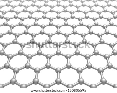 Graphene layer structure schematic model. 3d illustration isolated on white - stock photo