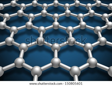 Graphene layer structure schematic model. 3d render illustration - stock photo