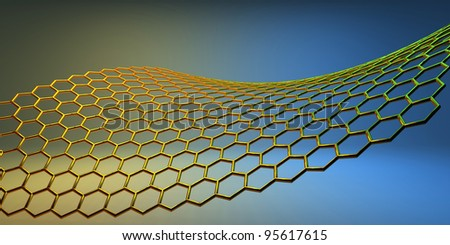 graphene molecular structure on yellow-blue background - stock photo