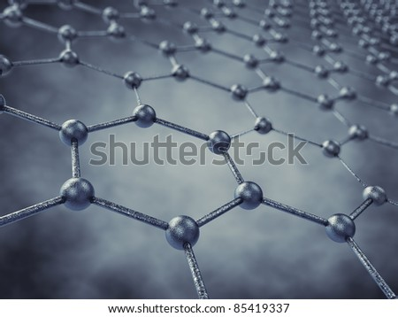 Graphene sheet model, 3d illustration - stock photo