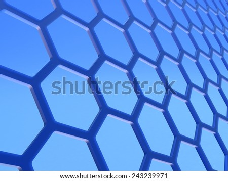 Graphene. Two-dimensional hexagonal crystal lattice formed by a layer of atoms of carbon in the thickness in one atom. - stock photo