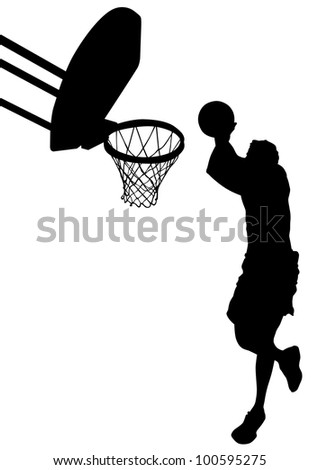 graphic basketball. Silhouette man with ball - stock photo
