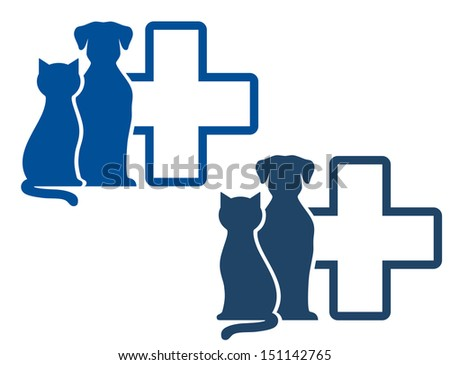 graphic blue veterinary icons with pets silhouettes - stock photo