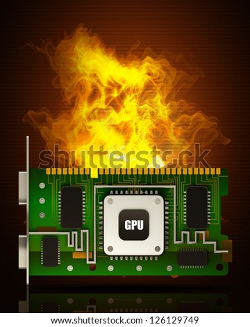 graphic card GPU in Fire high resolution 3d illustration - stock photo