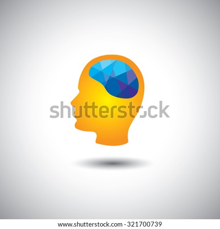 graphic concept - human brain & face showing creativity, brilliance. This graphic of side face also represents intelligence, smart thinking, cleverness, wisdom, solving problems, finding solution - stock photo