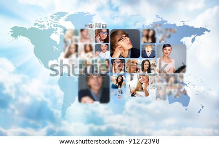 Graphic design background world map photo stock photo edit now world map and photo of different people across the world online freerunsca Gallery