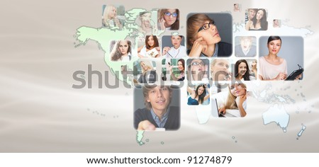 Graphic design background. World map and photo of different people across the world. Online community concept