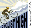 graphic design illustration of a Cyclist racing bike up steep mountain and clouds sunburst done in retro WPA style. - stock vector