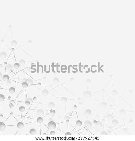 Graphic design molecule structure, gray illustration background.