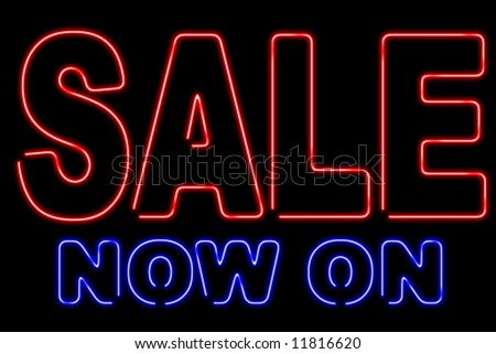 Graphic design of a neon sign displaying SALE NOW ON. Perfect for presentations and web graphics. XL.