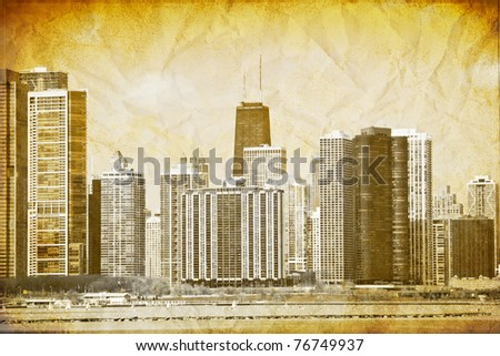 Graphic Design: Vintage Picture Of Downtown Chicago - stock photo