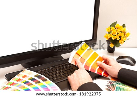 Graphic designer at work. Color samples. Space your photo or image. - stock photo