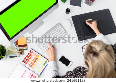 Graphic designer's workplace - stock photo