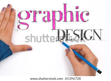 Graphic designer sketches styled words - stock photo