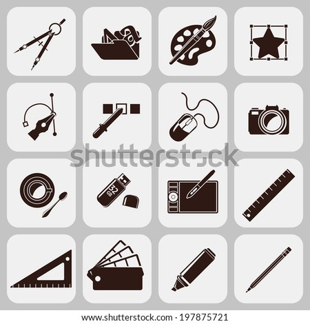 Graphic designer studio tools creative process black icons set isolated  illustration - stock photo