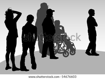 graphic disabled and women on a walk. Silhouettes of people - stock photo