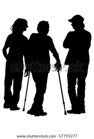 graphic disabled man on a walk. Silhouettes of people - stock photo